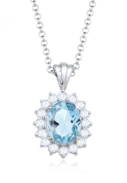Halskette | Topas ( Hellblau ) | 925er Sterling Silber