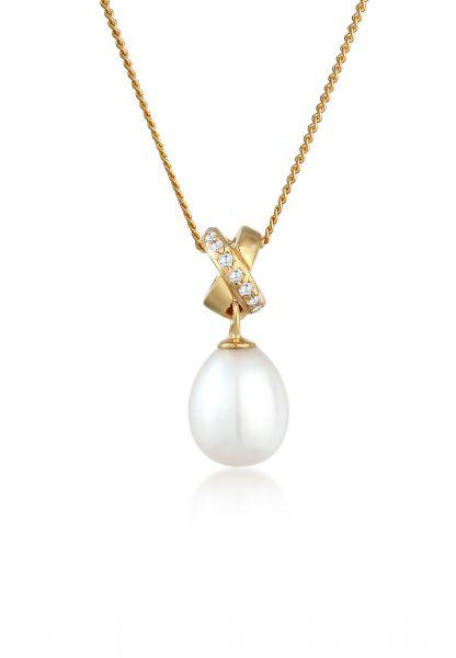 Elli PREMIUM Halskette Süßwasserzuchtperle Zirkonia 585 Gelbgold