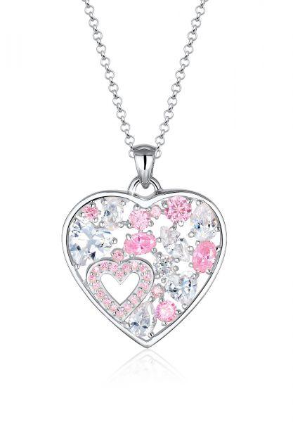 Lange Halskette Herz   Zirkonia ( Weiß )   925er Sterling Silber
