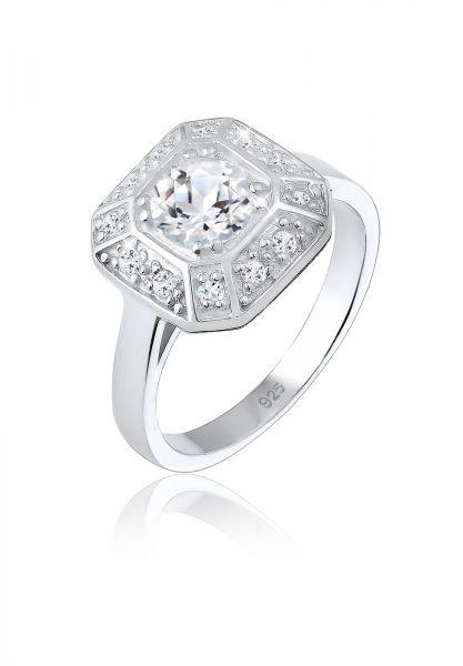 Elli PREMIUM Ring Verlobungsring Glamour Funkelnd Topas 925 Silber