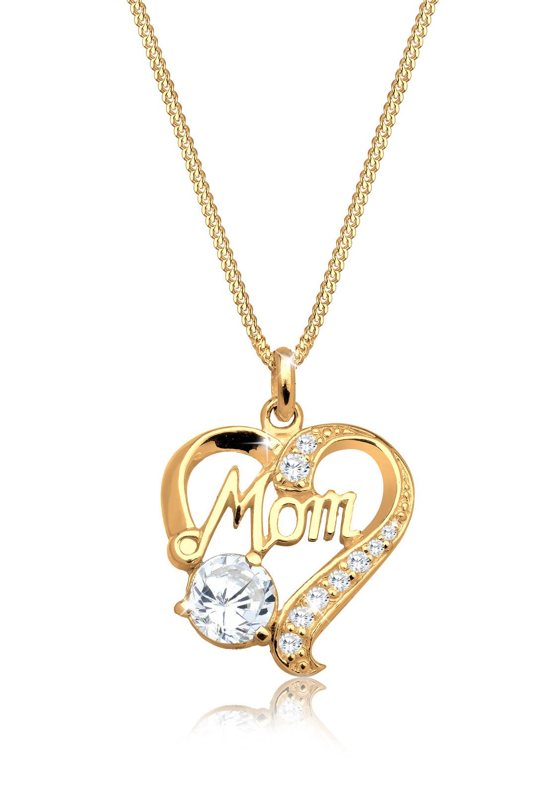 Halskette Herz   Zirkonia ( Weiß )   925 Sterling Silber vergoldet