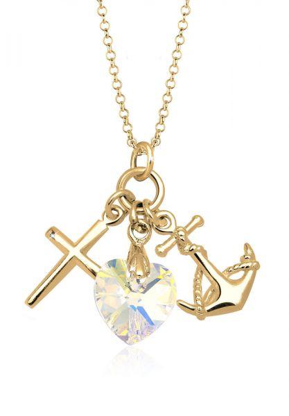 Elli Halskette Herz Anker Kreuz Kristalle Silber