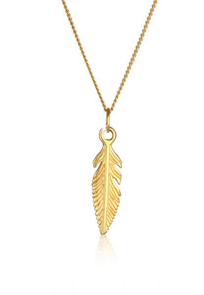 Elli PREMIUM Halskette Feder Boho 585 Gelbgold