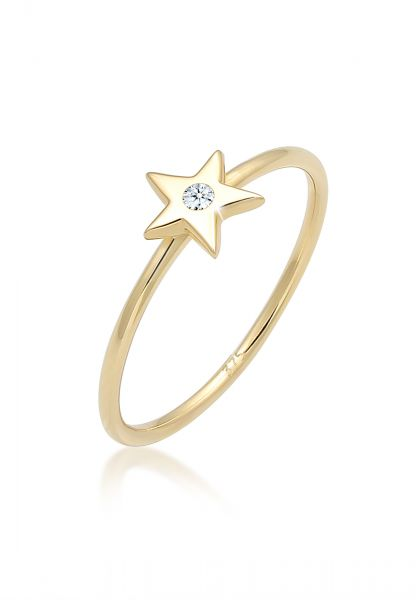 Elli PREMIUM Ring Bandring Stern Astro Diamant (0.015ct)375 Gelbgold