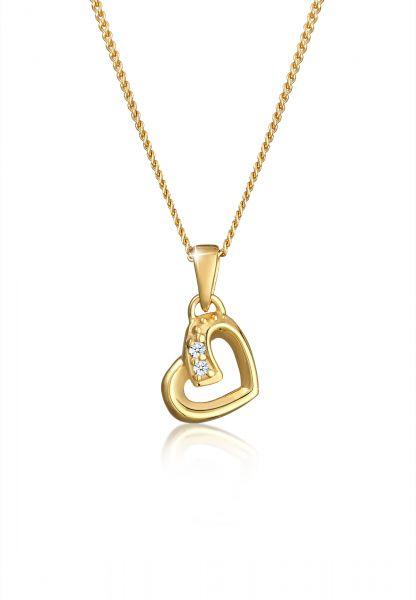 DIAMORE Halskette Herz Liebe Diamant (0.01 ct.) Cute 585 Gelbgold