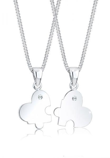 Halskettenset | Kristall ( Weiß ) | 925er Sterling Silber