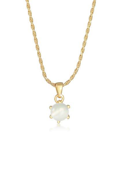 Elli PREMIUM Halskette Mondstein Klassik Kordelkette 925 Silber