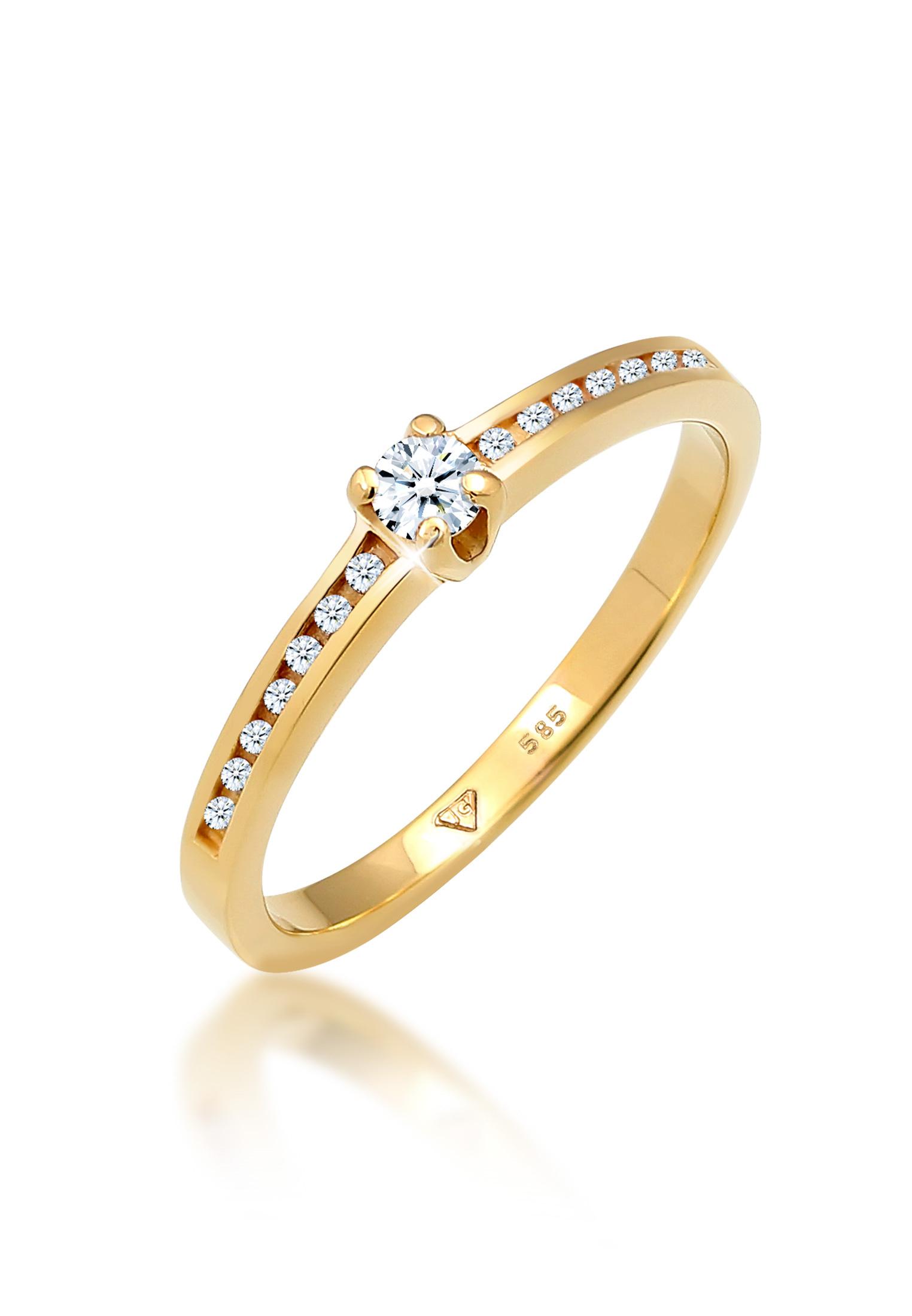 Verlobungsring | Diamant ( Weiß, 0,18 ct ) | 585 Gelbgold