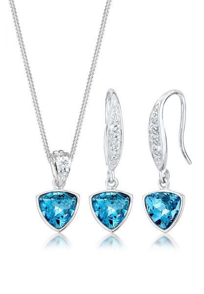 Elli PREMIUM Schmuckset Geo Aquamarine Kristalle 925 Silber