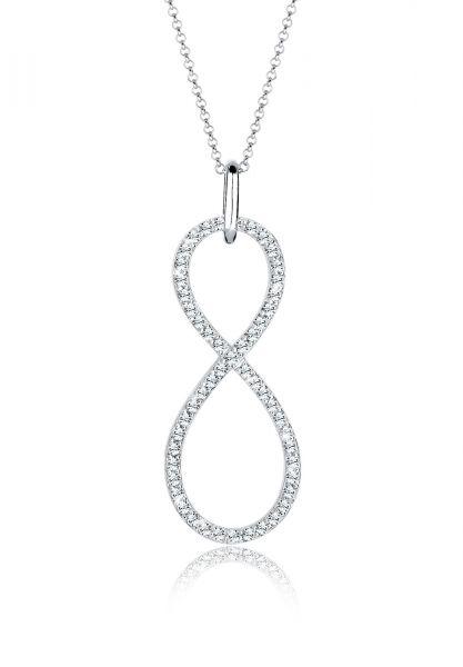 Elli PREMIUM Halskette Infinity Kristalle Endless 925 Silber