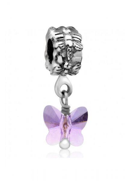 Charm Bead | Kristall ( Violett ) | 925er Sterling Silber