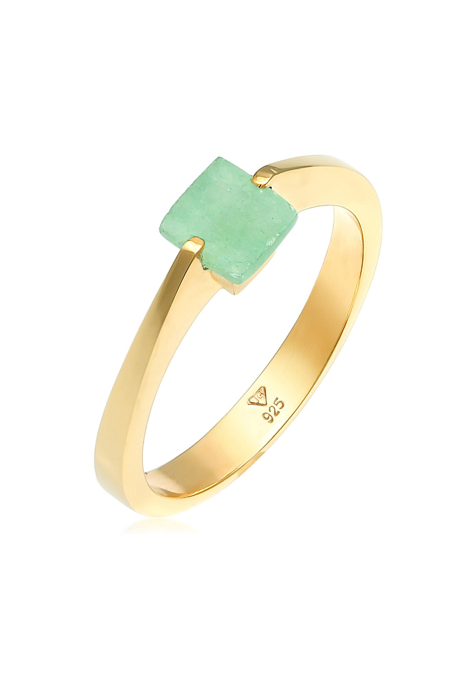 Ring   Jade ( Grün )   925 Sterling Silber vergoldet