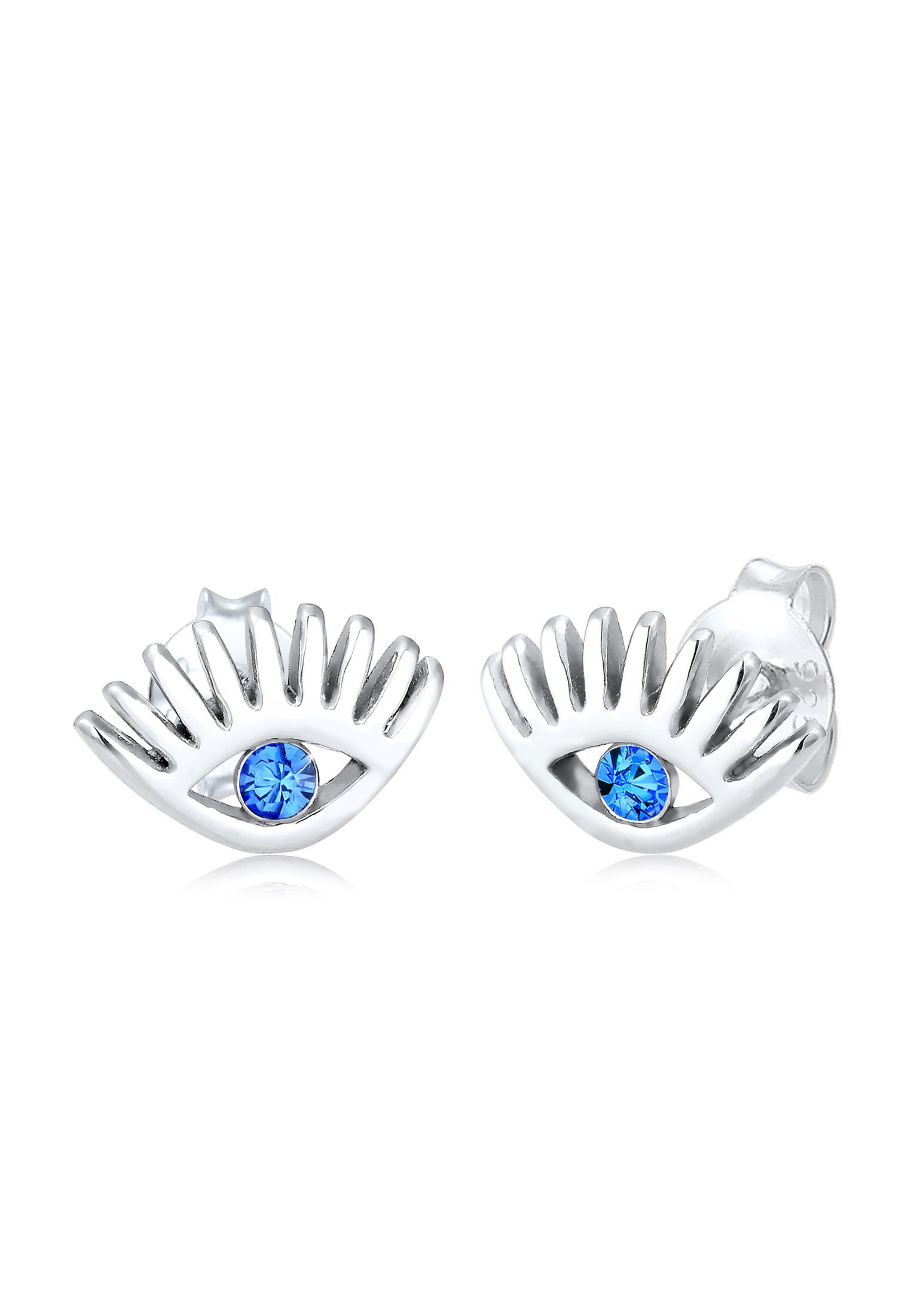 Ohrstecker Evil Eye | Kristall ( Blau ) | 925er Sterling Silber