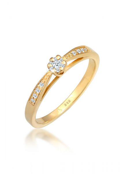 Verlobungsring | Diamant ( Weiß, 0,085 ct ) | 585 Gelbgold