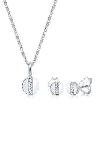 Schmuckset Geo   Diamant ( Weiß, 0,05 ct )   925er Sterling Silber