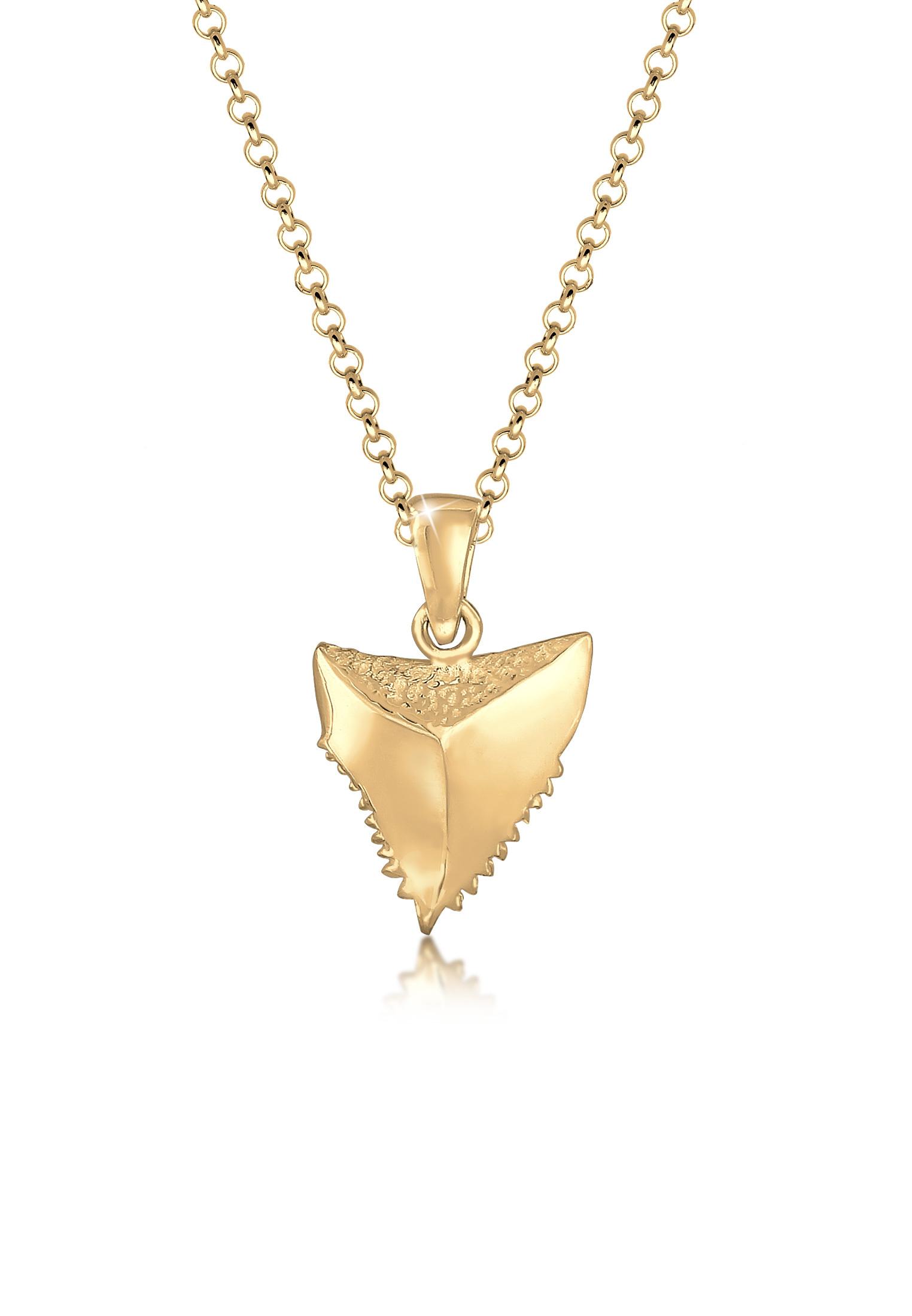 Halskette Zahn | 925 Sterling Silber vergoldet