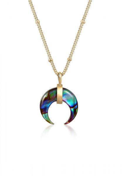 Elli Halskette Kugelkette Halbmond Abalone Muschel 925 Silber