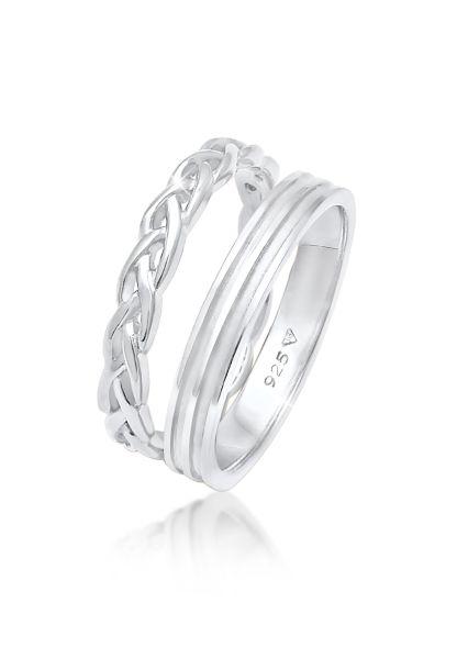Elli Ring Bandring Basic Zopf Knoten 2er Set 925 Silber