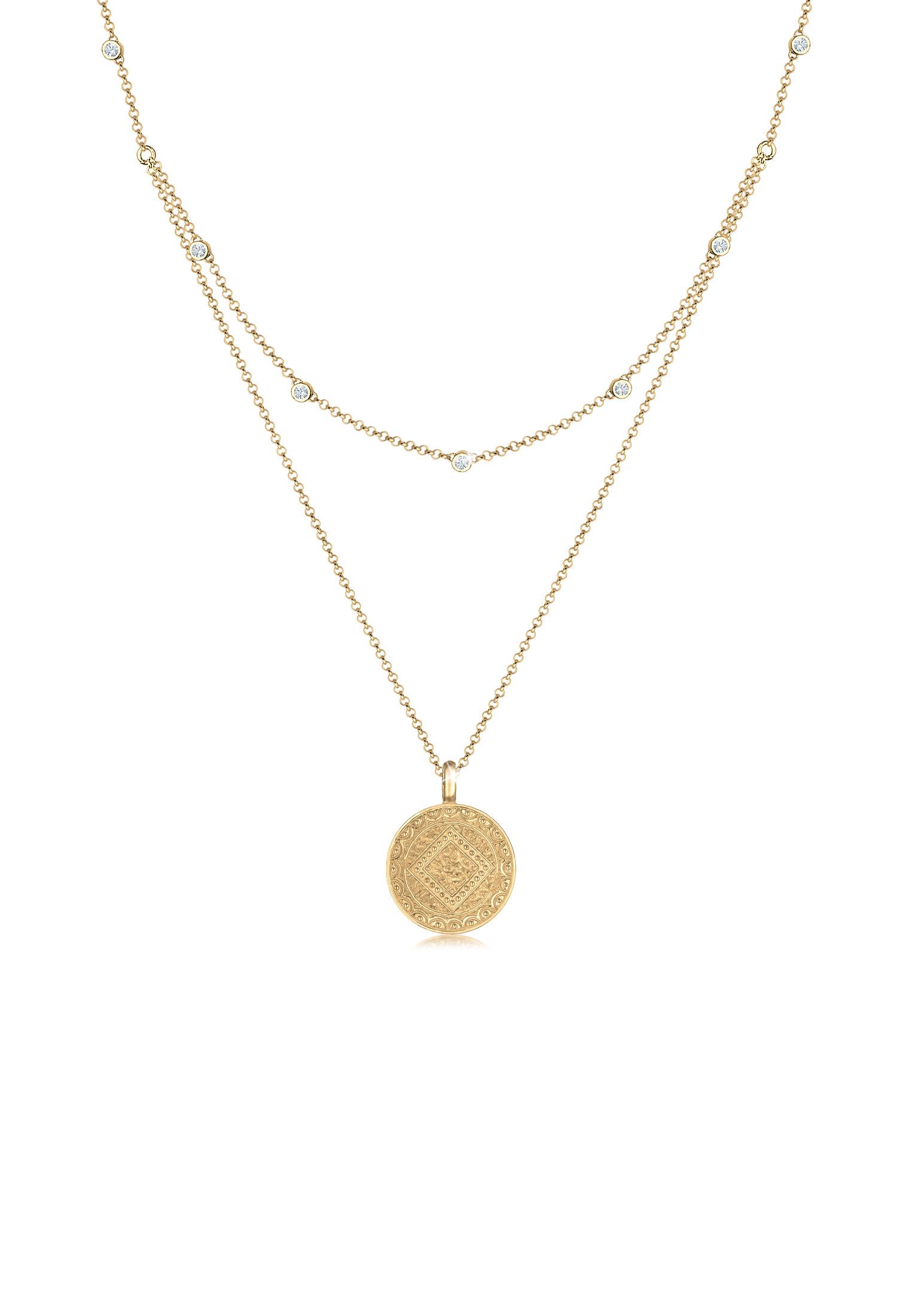 Layer-Halskette Münze | Kristall ( Weiß ) | 925er Sterling Silber