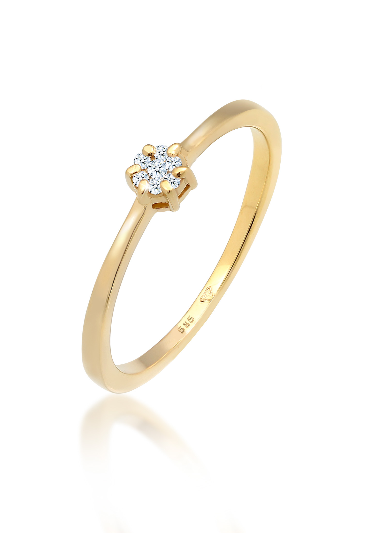 Verlobungsring   Diamant ( Weiß, 0,045 ct )   585 Gelbgold