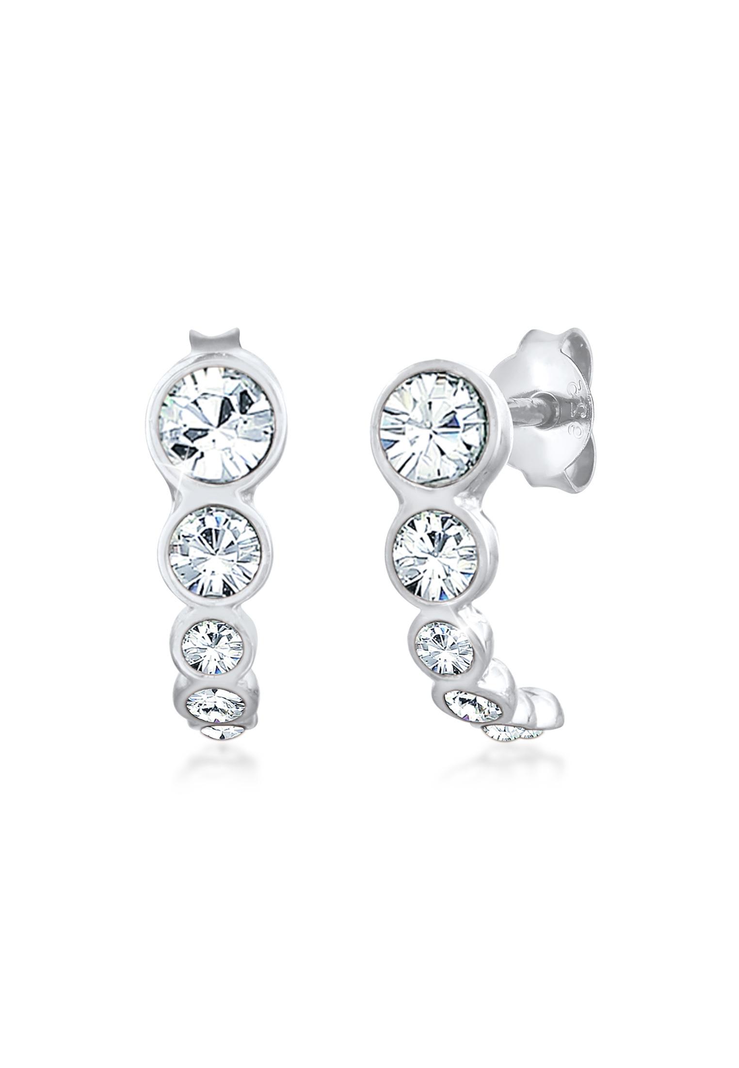 Halbcreolen | Kristall (weiß) | 925er Sterling Silber