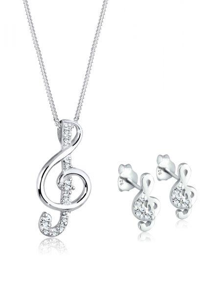 Schmuckset Notenschlüssel   Kristall ( Weiß )   925er Sterling Silber
