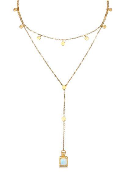 Elli PREMIUM Halskette Set Choker Y-Kette Mondstein Plättchen 925 Silber