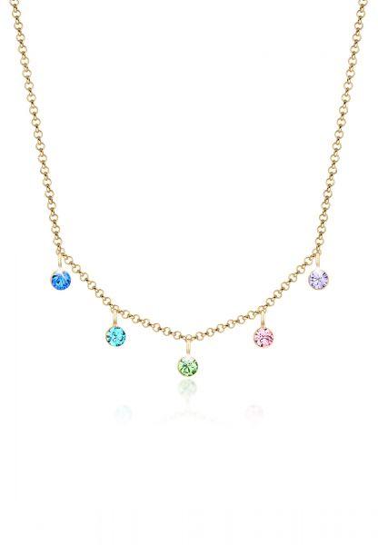 Elli Halskette Bunt Regenbogen Kristalle 925er Silber