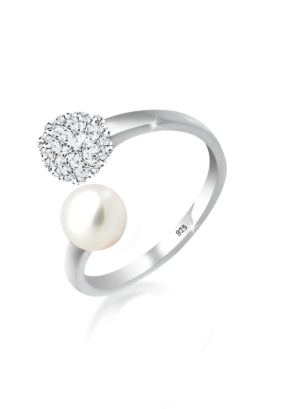 Ring Kugel   Kristall ( Weiß )   925er Sterling Silber