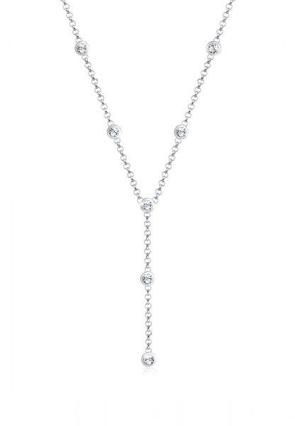 Elli Halskette Y-Kette Kreis Geo Kristalle 925 Silber
