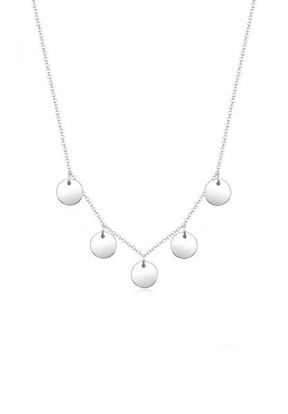 Elli Halskette Kreis Geo Plättchen Minimal 925 Sterling Silber