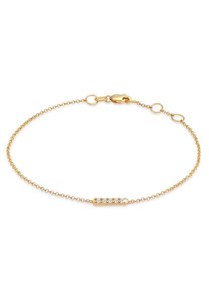 Armband | Diamant ( Weiß, 0,075 ct ) | 375 Gelbgold