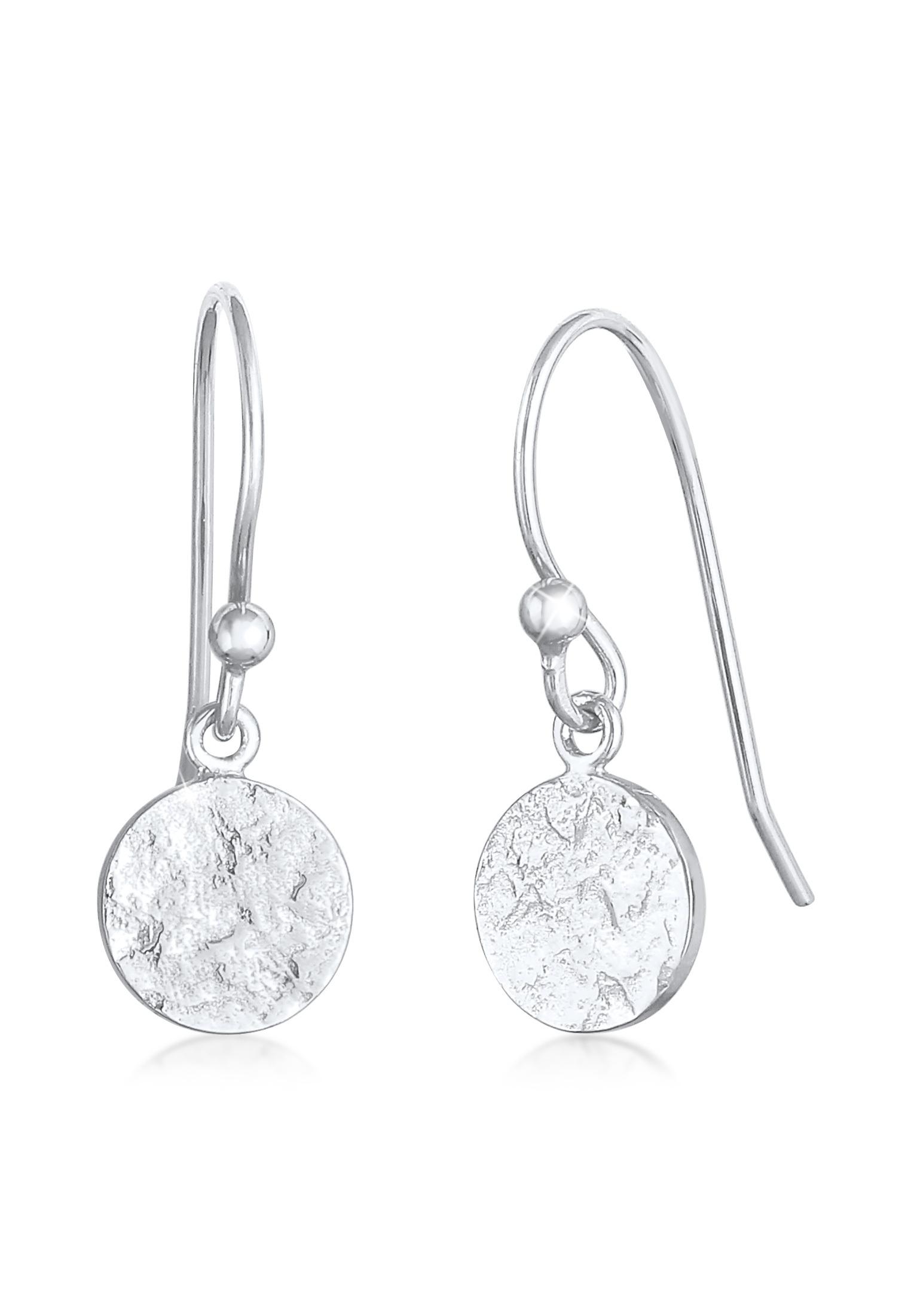 Ohrhänger Plättchen gehämmert | 925er Sterling Silber