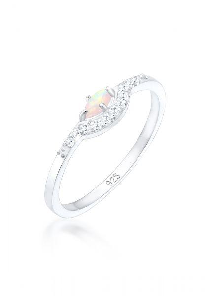 Verlobungsring | Opal ( Weiß ) | 925er Sterling Silber