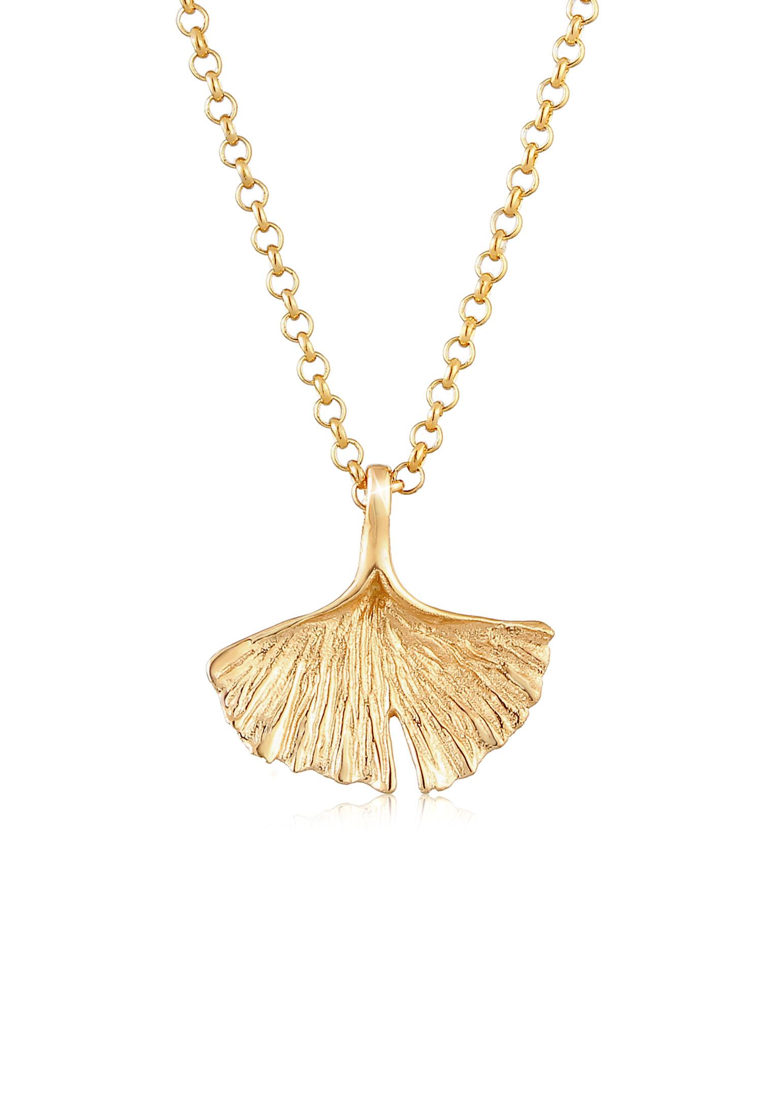 Halskette Ginkgo | 925 Sterling Silber vergoldet