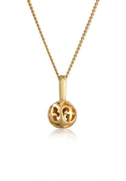 Elli PREMIUM Halskette Ornament Kugel Romantisch Edel 585 Gelbgold