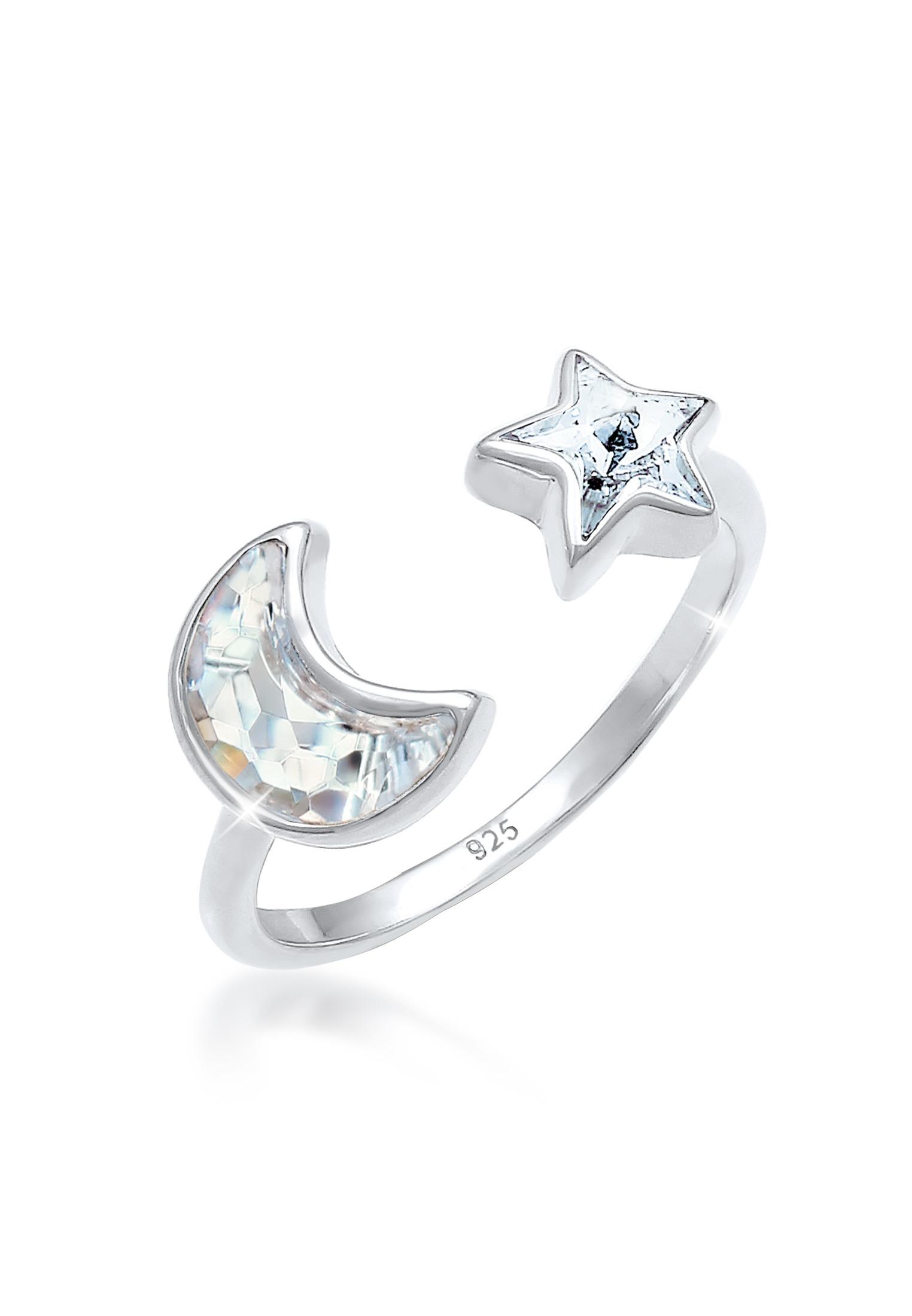 Ring Halbmond | Kristall ( Weiß ) | 925er Sterling Silber