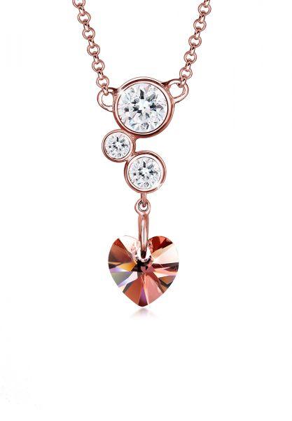 Elli Halskette Herz Collier Kristalle 925 Silber