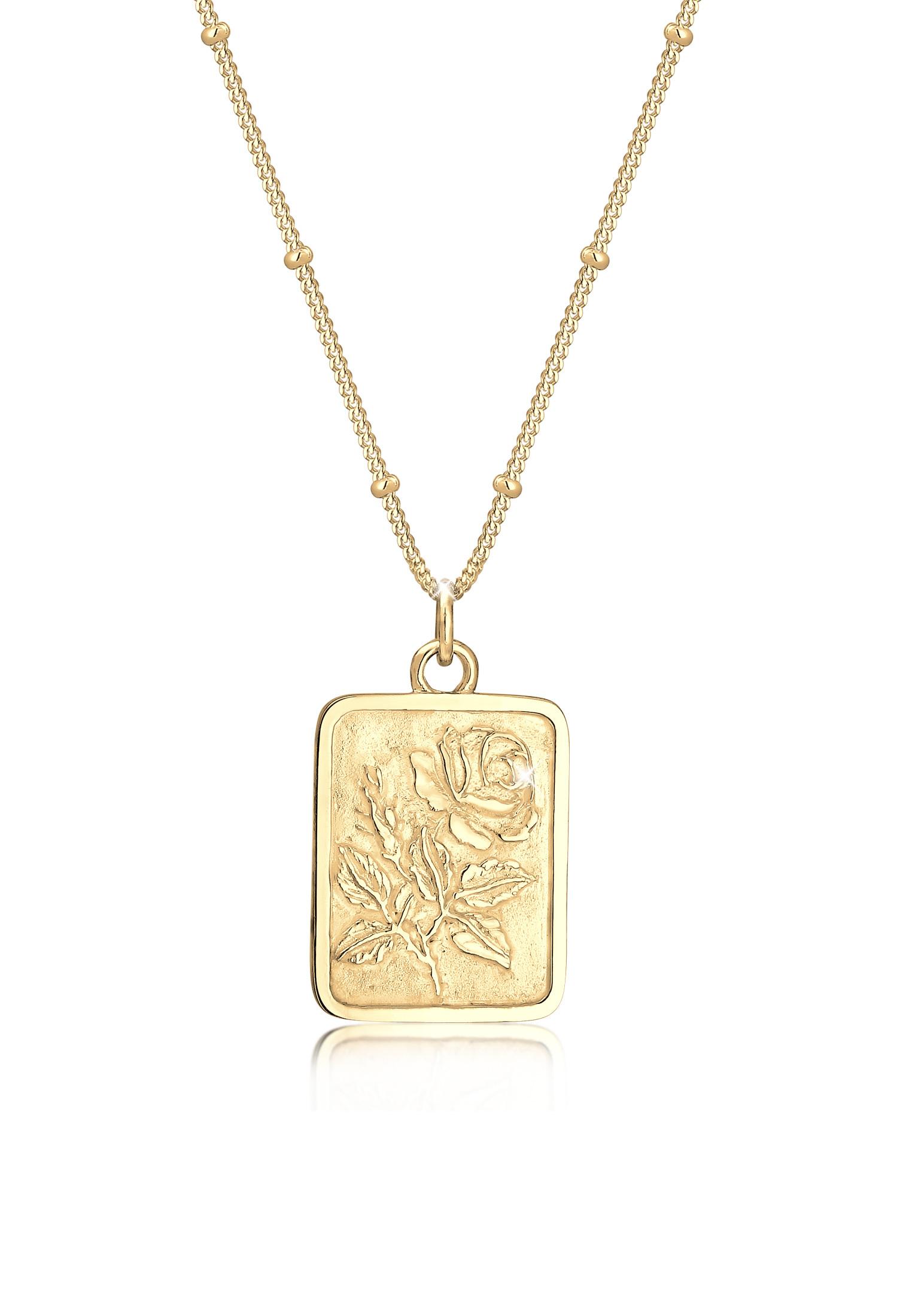 Kugel-Halskette Rose   925 Sterling Silber vergoldet