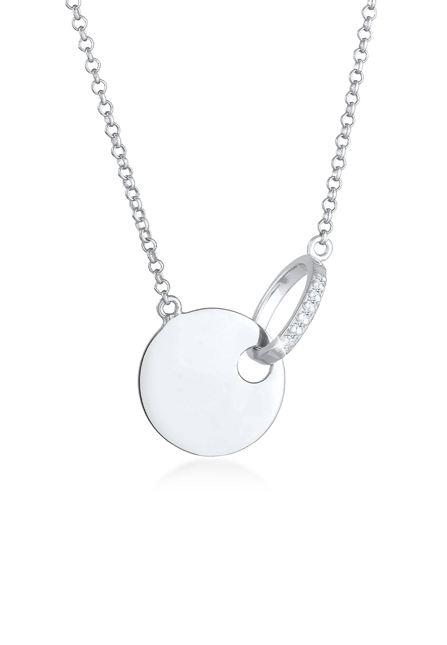 Halskette Geo | Diamant ( Weiß, 0,035 ct ) | 925er Sterling Silber