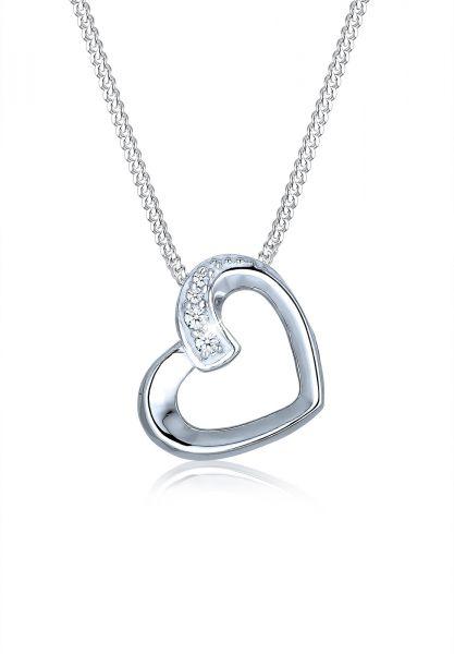 Halskette Herz | Diamant ( Weiß, 0,04 ct ) | 925er Sterling Silber