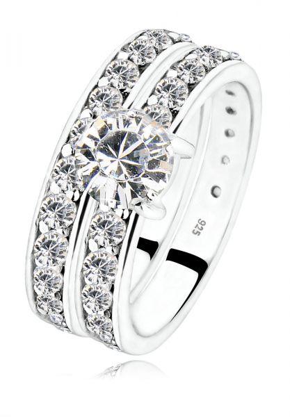 Elli Ring Set Stapelring Kristalle 925 Silber
