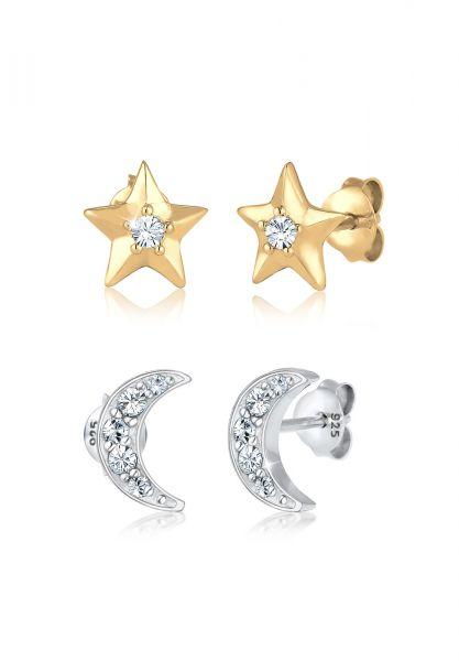 Elli Ohrringe Sterne Halbmond Kristalle Silber