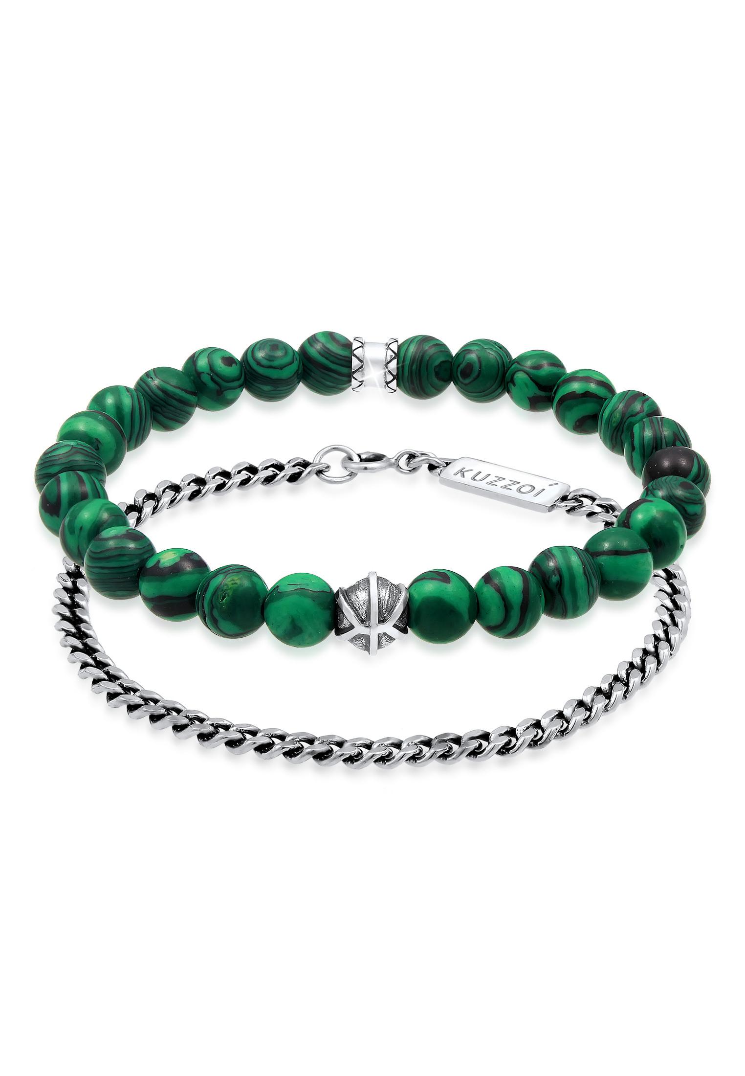 Armband   Achat ( Grün )   925er Sterling Silber
