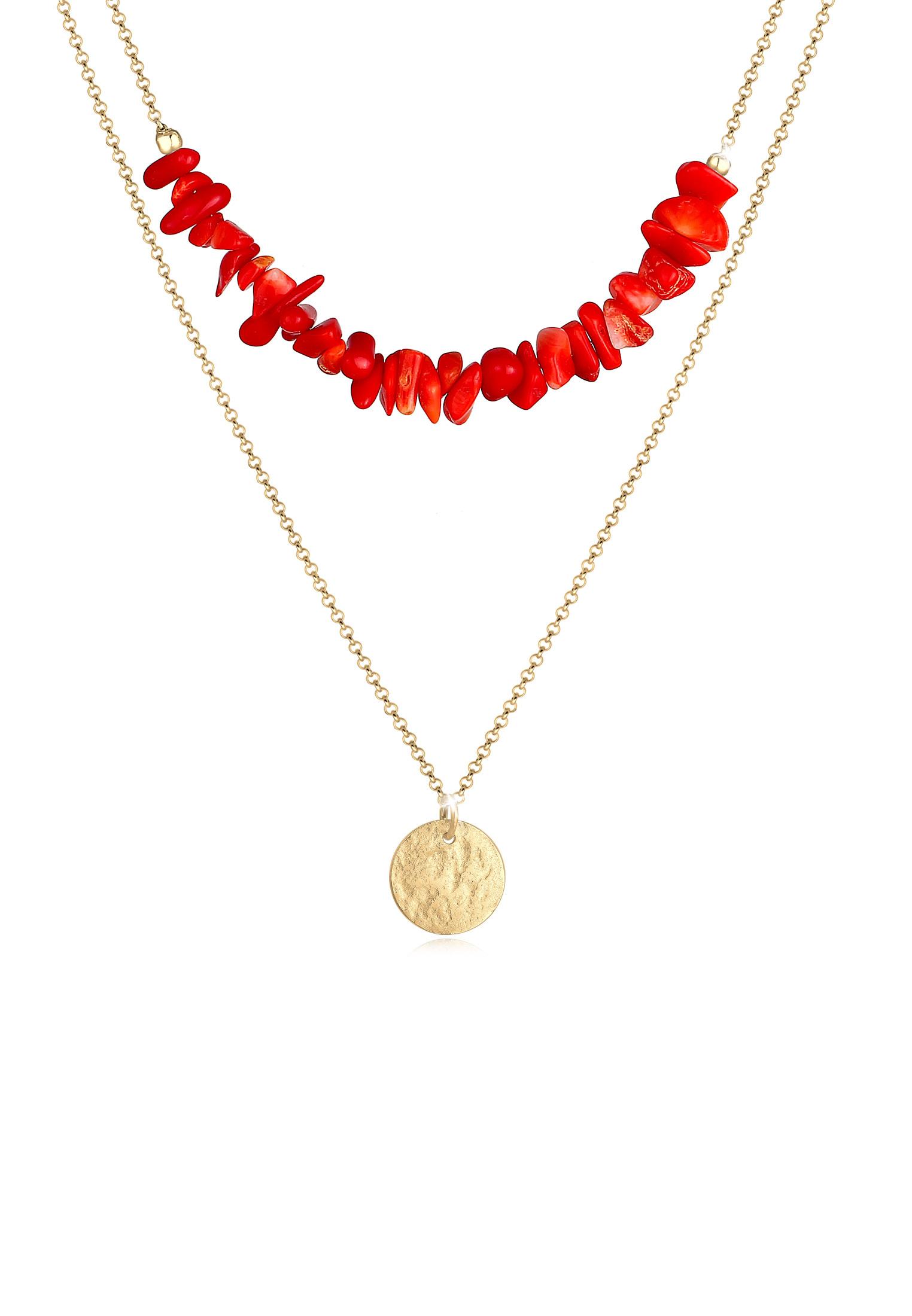Layer-Halskette   Koralle ( Rot )   925 Sterling Silber vergoldet