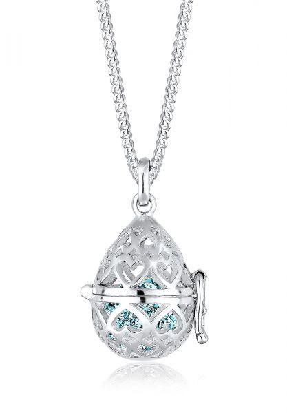 Halskette Medaillon | Kristall ( Hellblau ) | 925er Sterling Silber