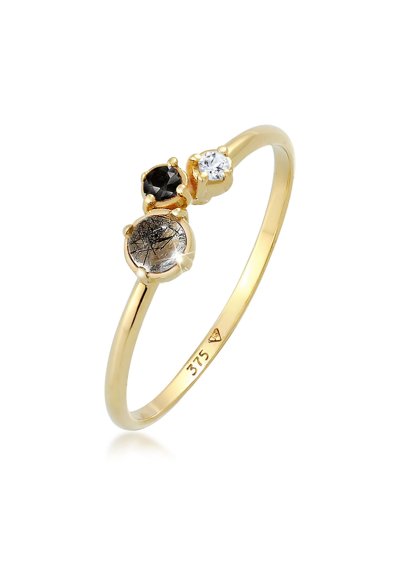 Ring | Diamant ( Schwarz, 0,03 ct ) | 375 Gelbgold