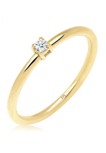 Elli PREMIUM Ring Verlobungsring Diamant 0.03 ct. 375 Gelbgold