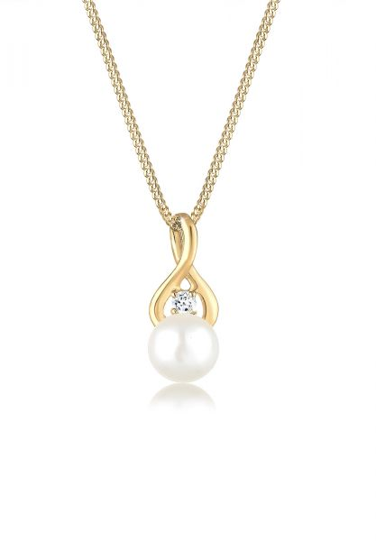 Elli PREMIUM Halskette Infinity Unendlichkeit Topas 585 Gelbgold