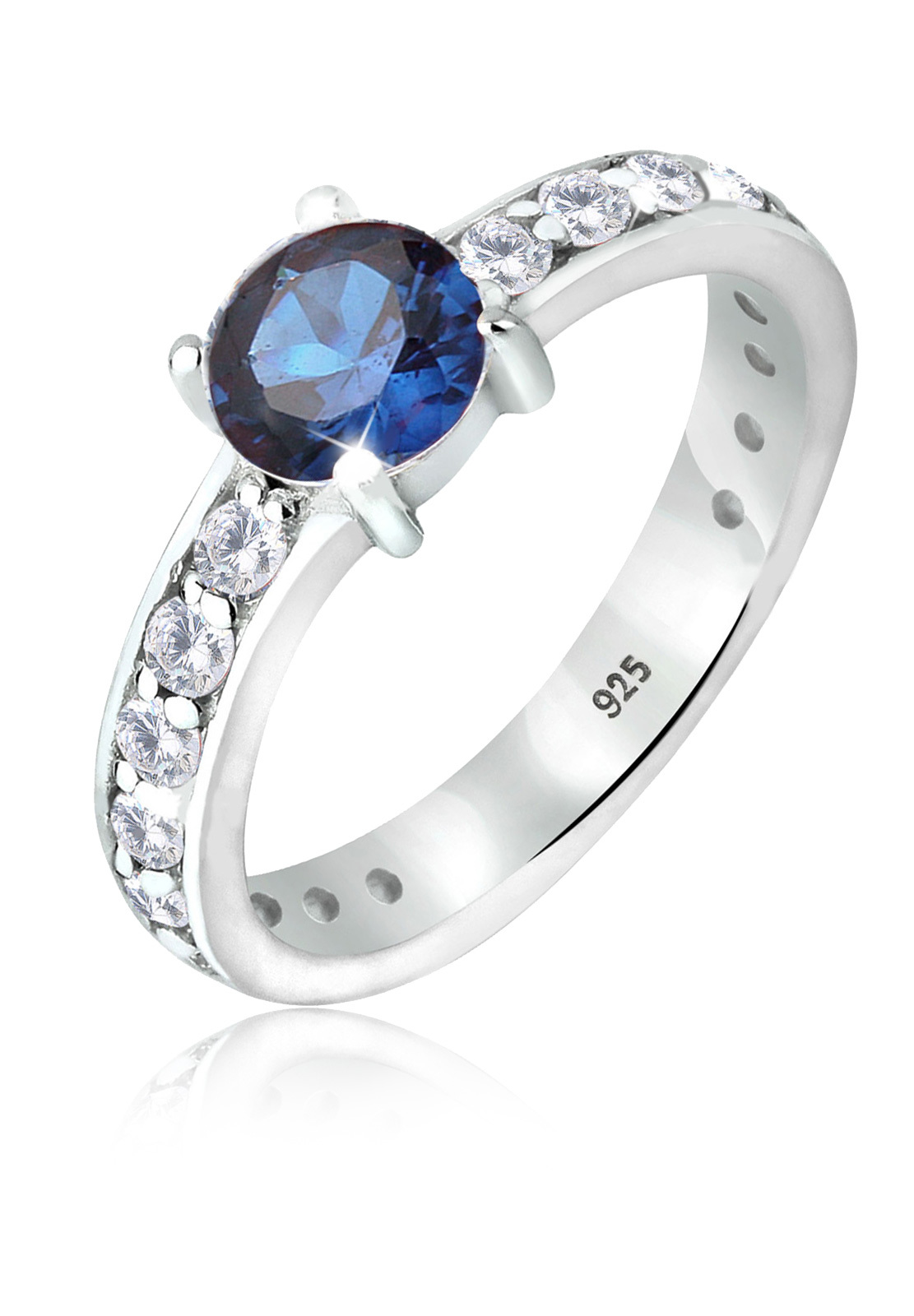 Solitär-Ring | Saphir ( Blau ) | 925er Sterling Silber